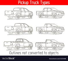 Truck pickup types template drawing Royalty Free Vector