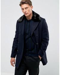 french connection blue double ted wool coat with faux fur collar for men lyst