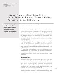 pain and pleasure in short essay writing factors predicting  pain and pleasure in short essay writing factors predicting university students writing anxiety and writing self efficacy pdf available