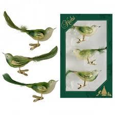 Vogel 3er Set Grün Transparent 11cm Glas