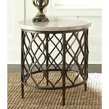 Iron End Table Stone Top Round By Living Buy Coffee Console Sofa