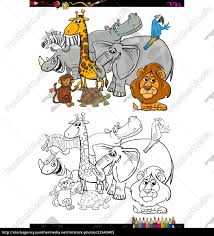 Safari Animals Template Royalty Free Vector 22643405 Cartoon Safari Animals Coloring Book