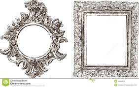 ornate hand mirror drawing. Old Ornate Frames Stock Vector Hand Mirror Drawing