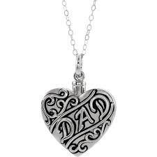 dad sterling silver cremation necklace heart shaped ash holder free