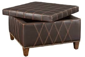 Brown Square Unique Leather Coffee Table With Storage Ottomans
