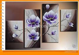 framed 4 panels 100 handmade purple flower oil painting on canvas wall art picture home decor t77 oil painting picture wall art online with 200 09 set on  on canvas wall art purple flowers with framed 4 panels 100 handmade purple flower oil painting on canvas