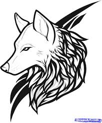 Draw Wolf Tattoo Drawing And Coloring For Kids Wolf Art Wolf