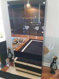 black lacquer bar cabinet with light chicago il