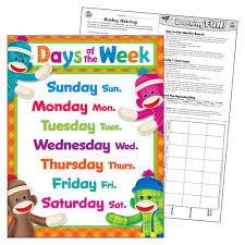Days Of The Week Chart Days Of The Week Sock Monkeys Learning Chart