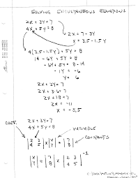 manually solving simultaneous equations