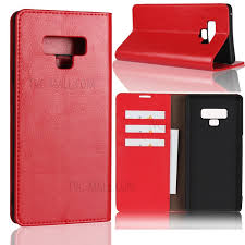 for samsung galaxy note 9 crazy horse genuine leather wallet phone cover with stand red