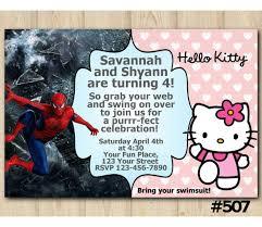 Hello Kitty Invitation Twin Hello Kitty And Spiderman Invitation Personalized Digital Card
