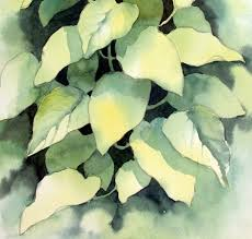then with an even darker green i painted around the underneath leaves which as a result were now standing out but were darker in tone than the very top
