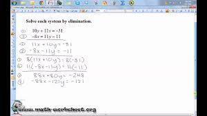 solving linear equations worksheets free library lv g systems of equ ti s by elim w ksheet free