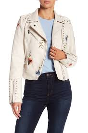 image of romeo juliet couture studded embroidered faux leather jacket