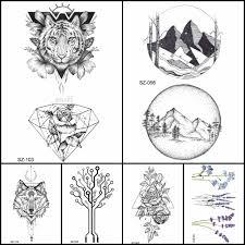 мода карандаш эскиз татуировки мужчины наклейки геометрические временные татуировки тигр алмаз женщины руку поддельные татуировки круглый гора