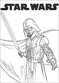 Small Picture Darth Vader with lightsaber coloring page Free Printable
