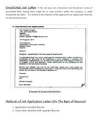 Unsolicited Cover Letter Unsolicited Application Letter For Fresh