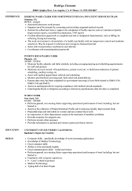 resume outlines patient care unit clerk sample job description ward resume templates