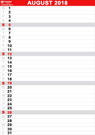 Vertical Weekly Calendar August 2018 Calendar Vertical Calendar August 2018 Pinterest