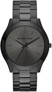 men s michael kors slim runway black steel watch mk8507