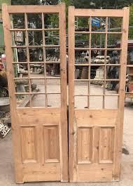 pair of antique original pine doors no