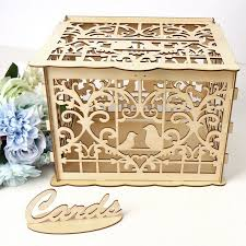 diy wedding gift card box with lock beautiful wedding decoration supplies for birthday party wooden money box