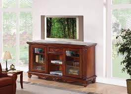 dreena cherry wood tv stand with 2 glass doors