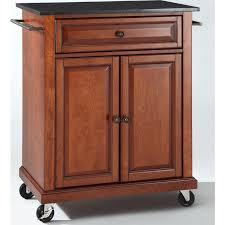 kitchen island cart granite top. Crosley Furniture KF30024ECH Solid Black Granite Top Portable Kitchen Island /Cart In Classic Cherry Cart E
