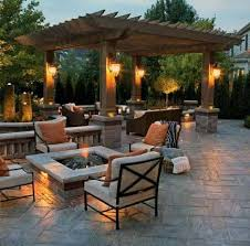 Image Brick Backyard Ideas Stamped Concrete Patio With Covered Wood Pergola Next Luxury Top 50 Best Stamped Concrete Patio Ideas Outdoor Space Designs