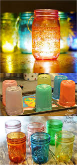 make mason jar lanterns with colored glow by tinting them with food coloring and modpodge if you live outside united states and can t find modpodge