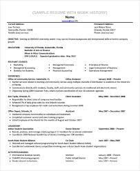 Inroads Resume Template Sample Work History Template 9 Free Documents  Download In Pdf Word