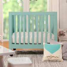babyletto origami mini crib in lagoon free shipping