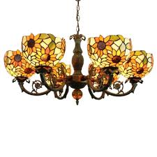 sunflower pattern tiffany style stained glass lampshade 33