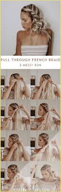 Pull Through French Braid and Messy Bun Tutorial T Braid Bun French Kirsten  Messy messy bun tutorial pull TUTORIAL… | French braid, Messy bun tutorial,  Bun tutorial