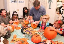 pumpkin carving tools for kids. each kit comes with stencils, scoopers for emptying the seeds and gunk from gourds, several sizes of kid-safe pumpkin cutters, even tools to trace carving kids y