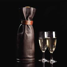 leather wine and champagne bottle sleeve