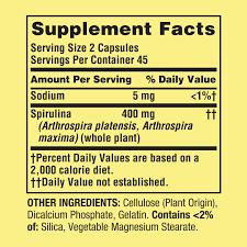 Spring Valley Spirulina Capsules 400 Mg 90 Ct Walmart Com