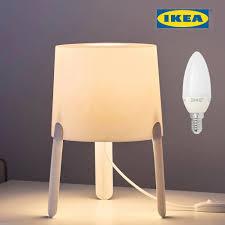 Ikea Tvärs Tvars White Modern Minimalist Table Lamp 17x18cm With Bulb Ebay