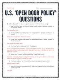 open door policy document. Imperialism In China - USA Open Door Policy Reading, Questions, Cartoon Document D