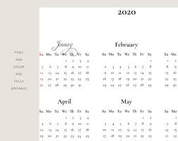 2020 16 Calendar Printable 2020 Yearly Wall Calendar Template 12 Month Vertical Printable Planner Template Fully Editable Vertical Calendar Instant Download