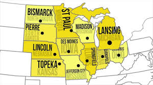 Image result for midwest region states and capitals map