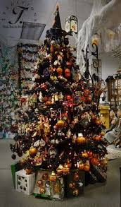 A 6 foot black tree full of glass Halloween ornaments from Slavic  Treasures, Old World