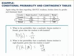 Probability Chart Examples Probability Example Conditional Probability With A Contingency Table