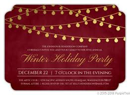 Formal Christmas Party Invitations Gold Foil Hanging Lights Holiday Party Invitation