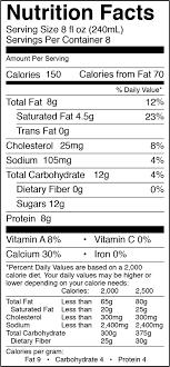 1 2 gal whole milk half gallon nutrition facts serving size 8 fl oz 240ml