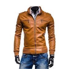 slim fit tan brown leather jacket zoom men s