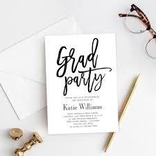 Graduation Party Invitation Template Brushed Charm Graduation Party Invitation Bcc Editable Color