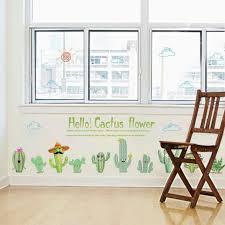Gaweb Lovely Cactus Diy Wall Art Sticker Bedroom Living Room Classroom Home Decor