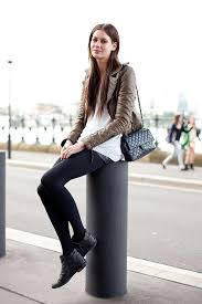 taupe brown leather jacket white sweater leather shorts chanel bag tights